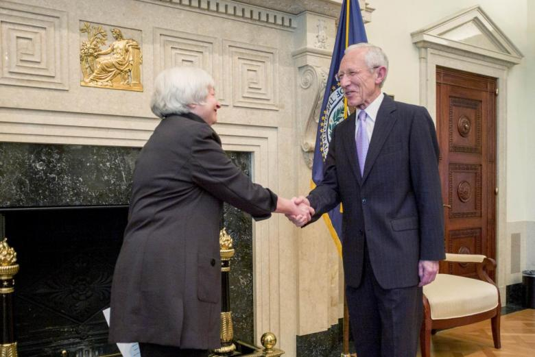 U.S. Federal Reserve Chair Yellen congratulates Fed Vice Chair Fischer at swearing-in ceremony in Washington