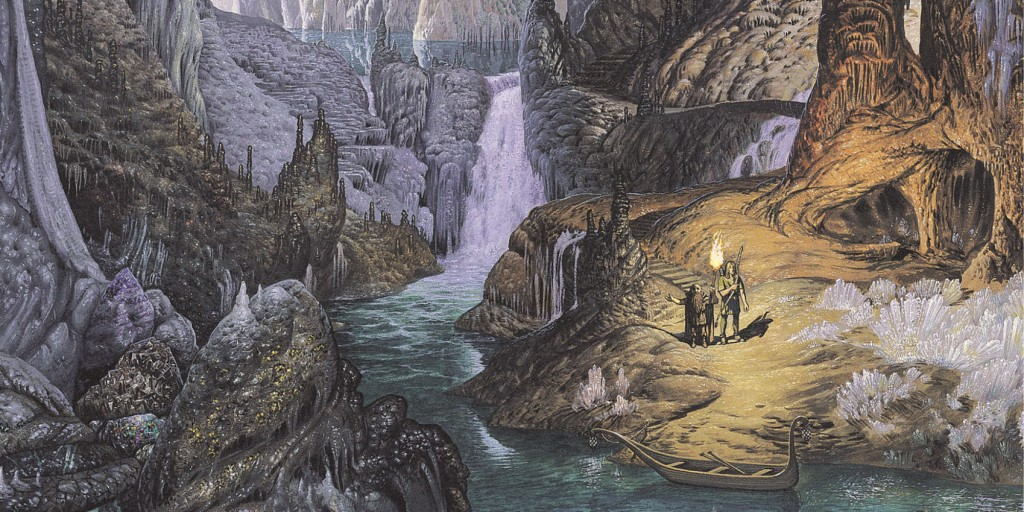 Man and dwarf in cave