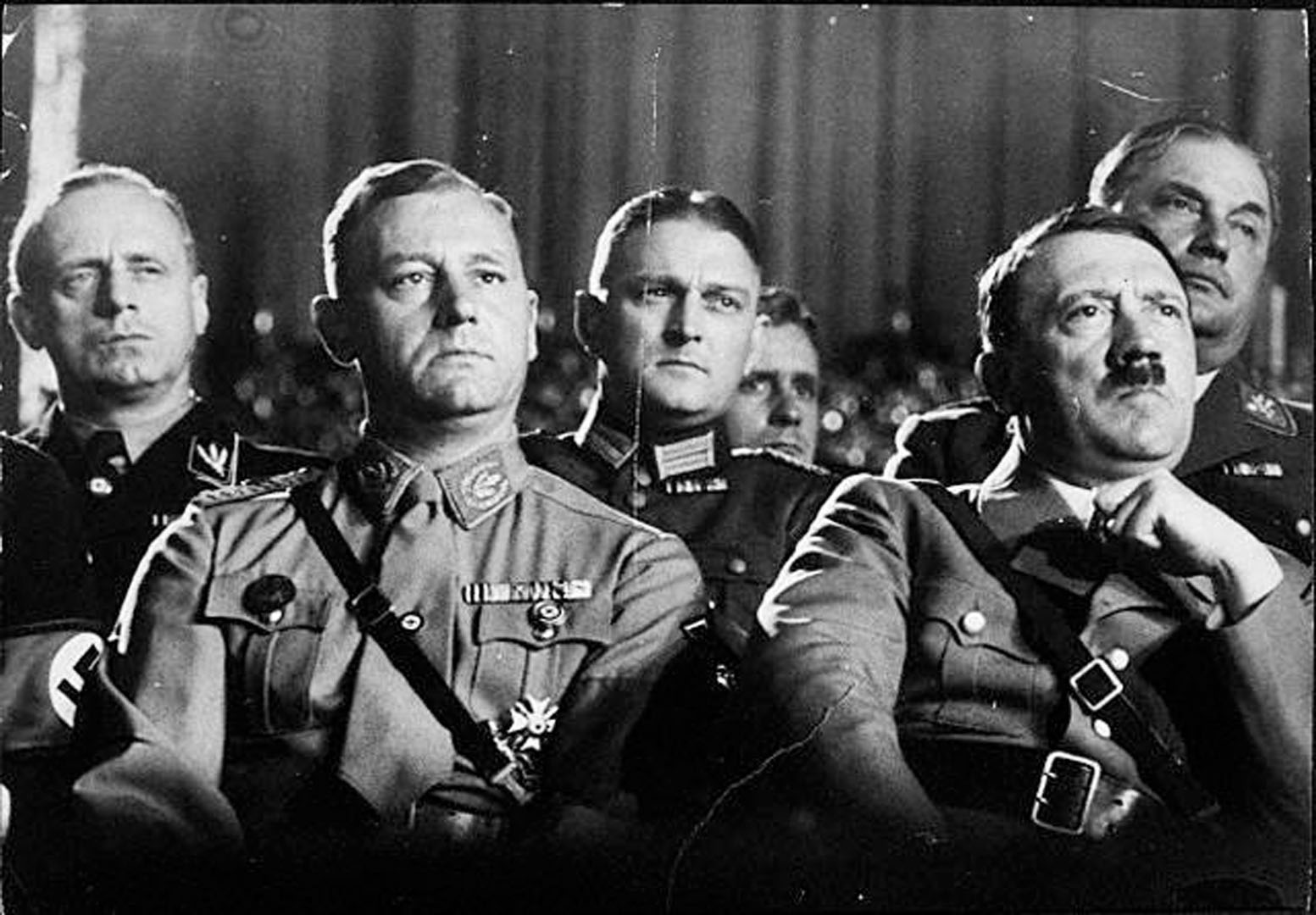 A group of Nazi leaders, including Adolf Hitler, at a National Socialist party congress.